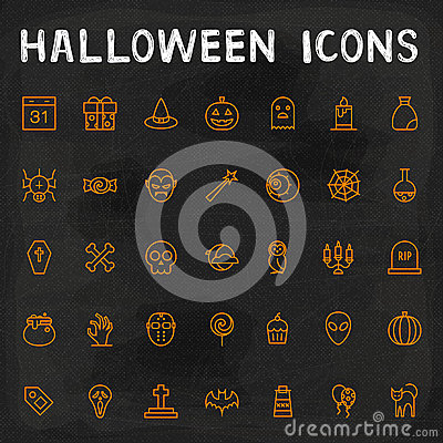 Vector Halloween Outline Icons Vector Illustration