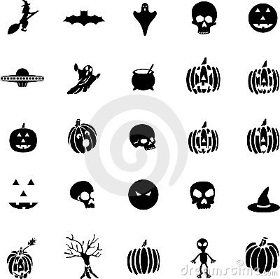 Vector halloween symbols, witches, pumpkins, ghost