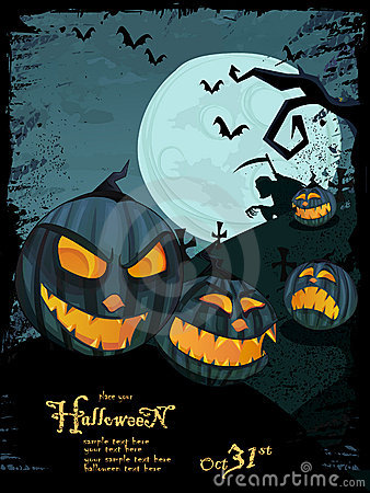 Vector Halloween template with night landscape