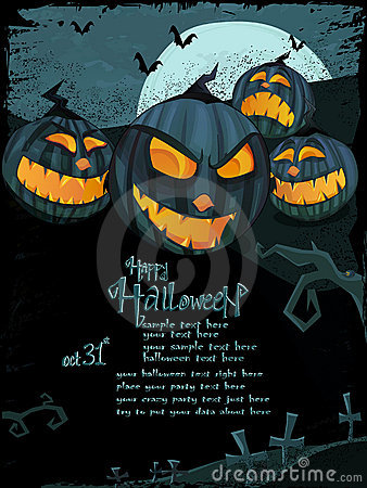 Vector Halloween template with scary pumpkins