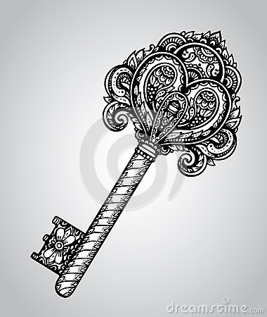 Free Vector Hand Drawn Antique Ornate Key Royalty Free Stock Photography - 61805377
