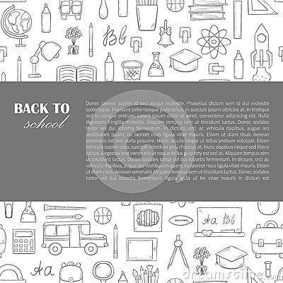 Vector hand drawn back to school background Vector Illustration