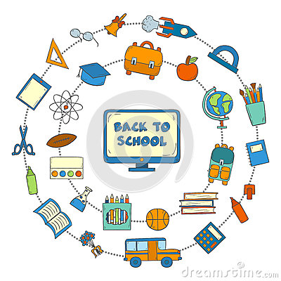 Vector hand drawn back to school icons Vector Illustration