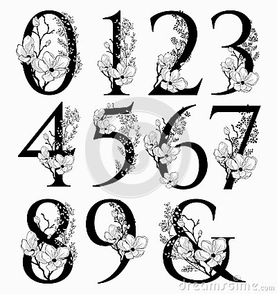 Free Vector Hand Drawn Floral Numbers Monograms And Logo Stock Images - 112989994