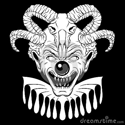Vector hand drawn illustration of angry clown with ram skull. Vector Illustration