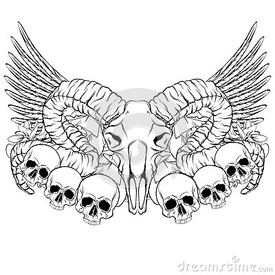 Vector hand drawn illustration. Artwork with skull of ram. Vector Illustration