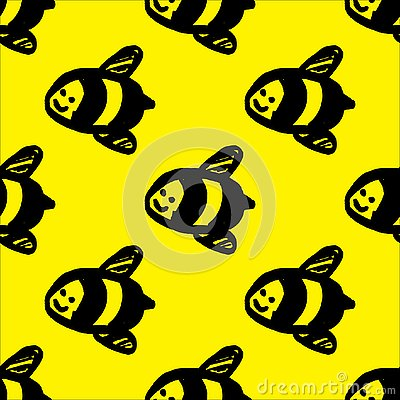 Vector hand drawn illustration of honey bee on yellow background. Seamless bee pattern Cartoon Illustration