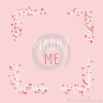 Free Vector Hand Drawn Illustration Of Text MARRY ME And Floral Rectangle Frame. Stock Photo - 138592680