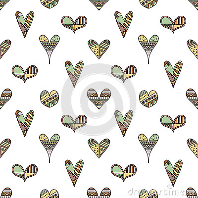 Free Vector Hand Drawn Seamless Pattern, Decorative Stylized Childish Hearts. Doodle Style, Tribal Graphic Illustration Cute Hand Drawi Royalty Free Stock Photo - 92467355