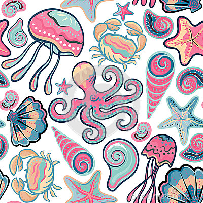 Free Vector Hand Drawn Seamless Pattern With Jellyfish, Shells, Starfish, Octopus And Crabs. Ocean Background Royalty Free Stock Photos - 64446518
