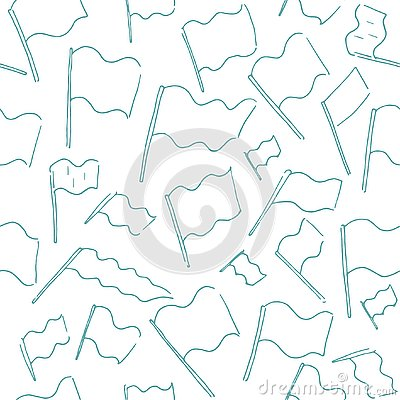 Vector Hand drawn sketch of flag seamless pattern illustration on white background Vector Illustration