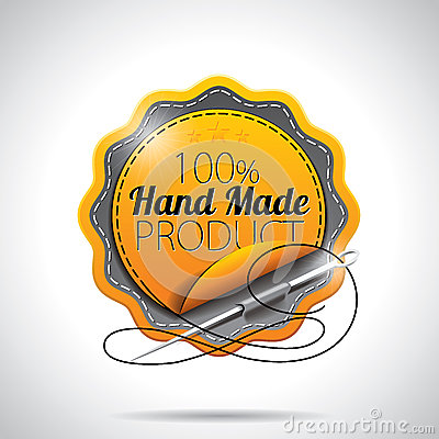 Vector  Hand Made Product Labels Illustration with shiny styled design on a clear background. EPS 10.