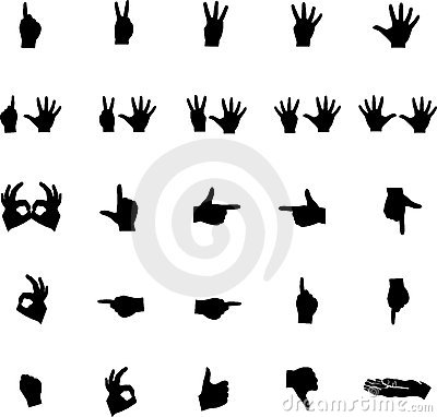 Vector hand silhouettes numbers and symbols