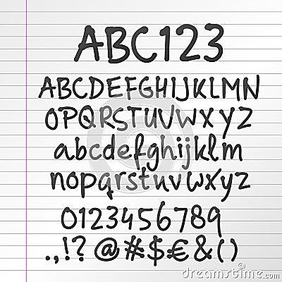 Vector handwritten alphabet