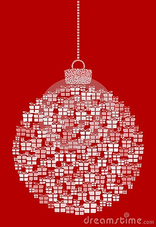 Vector hanging abstract Christmas ball consisting of gift box icons on red background. Vector Illustration