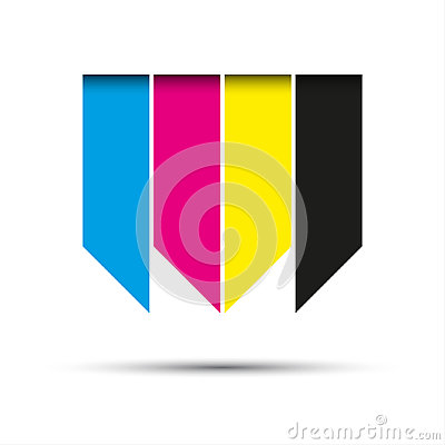 Free Vector Hanging Ribbons In Cmyk Colors With Shadows Royalty Free Stock Photos - 96205658