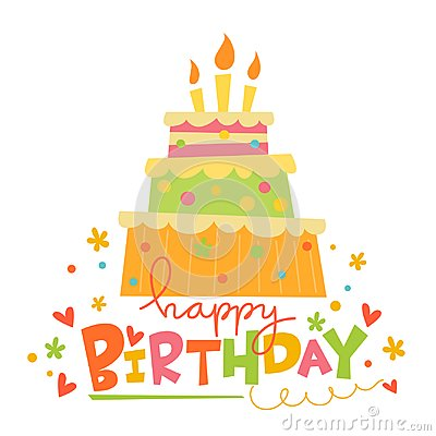 Vector Happy Birthday card with cute cake. Vector Illustration