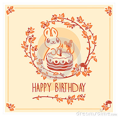 Free Vector Happy Birthday Greeting Card With Cute Rabbit, Mouse And Cake. Invitation Design. Royalty Free Stock Image - 87355566