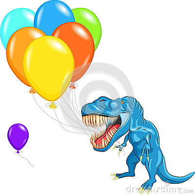 vector Happy blue tyrannosaurs with balloons