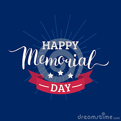 Free Vector Happy Memorial Day Card.National American Holiday Illustration With Rays,stars.Festive Poster With Hand Lettering Royalty Free Stock Photo - 90809485