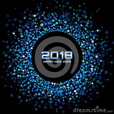 Free Vector Happy New Year 2018 Card Background. Blue Bright Disco Lights Halftone Circle Frame. Stock Photography - 101584832