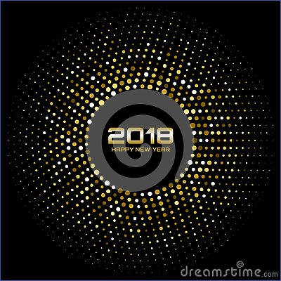 Free Vector Happy New Year 2018 Card Background. Gold Bright Disco Lights Halftone Circle Frame. Royalty Free Stock Image - 101584516