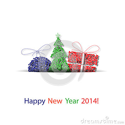 Vector happy new year decoration background