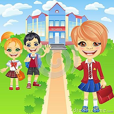 Vector happy smiling schoolchildren girls and boy