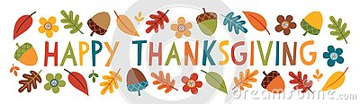 Cute happy thanksgiving text web banner leaves acorns flowers Vector Illustration