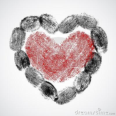 Vector heart, man and woman fingerprint