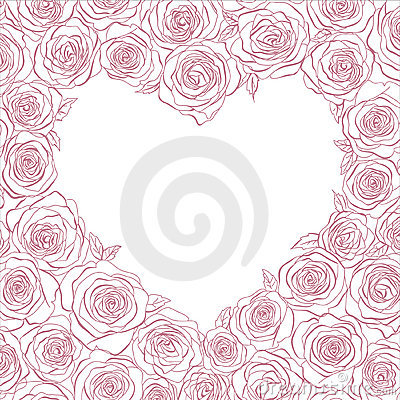 Vector heart of roses