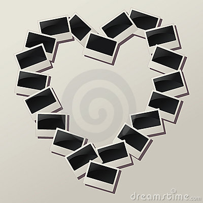 Vector heart shape of empty photos