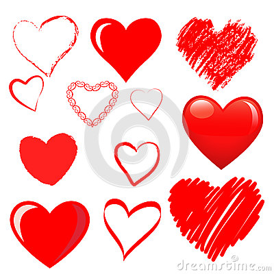 Free Vector Hearts Set Stock Photography - 31350072