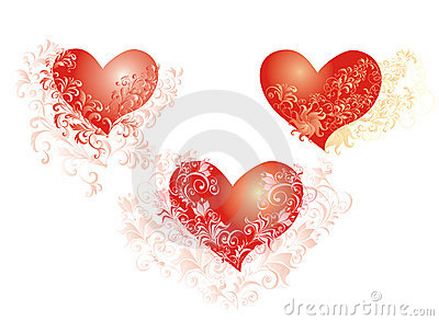 Vector Hearts whith flower ornaments