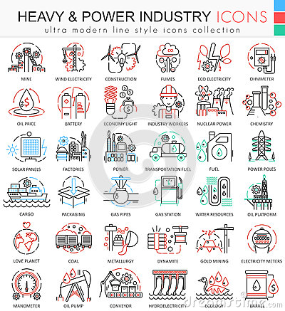 Free Vector Heavy And Power Industry Color Line Outline Icons For Apps And Web Design. Stock Photography - 82838752