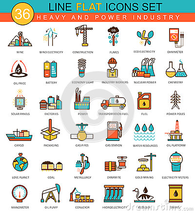 Free Vector Heavy And Power Industry Flat Line Icon Set. Modern Elegant Style Design  For Web. Stock Photography - 69929502