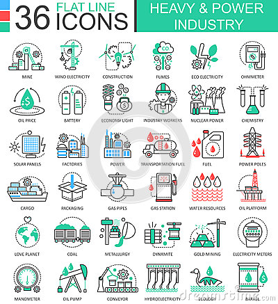 Free Vector Heavy And Power Industry Flat Line Outline Icons For Apps And Web Design. Heavy Power Industry High Technology Stock Photography - 80998432