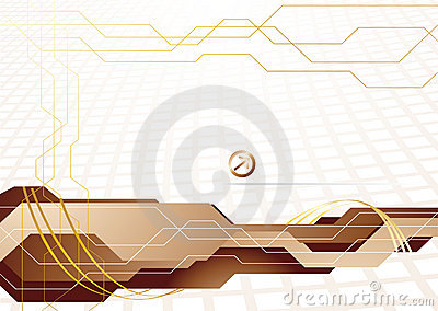 Vector hi-tech template in gold color