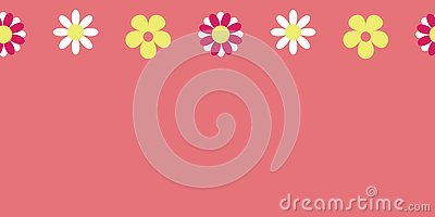 Vector Seamless Pattern Pink Border Hippie Floral Stock Photo