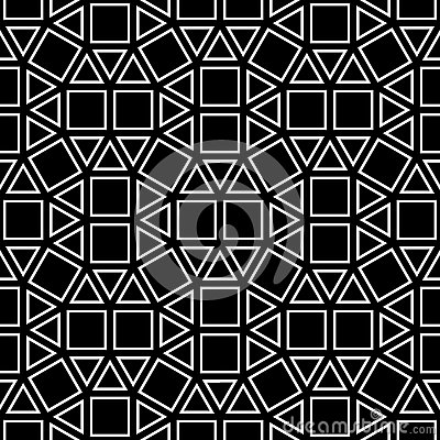 Free Vector Hipster Abstract Geometry Pattern Square, Black And White Seamless Geometric Background, Subtle Pillow And Bad Sheet Print Royalty Free Stock Image - 70539756