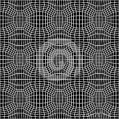Vector hipster abstract geometry trippy pattern with 3d illusion, black and white seamless geometric background Vector Illustration