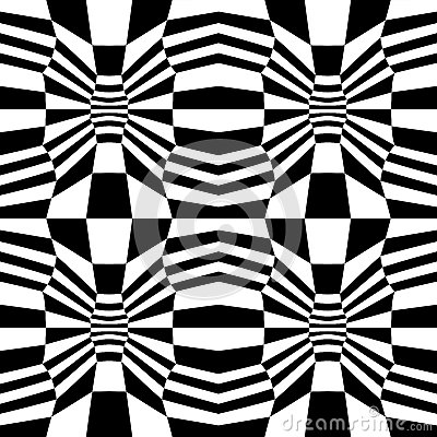 Vector hipster abstract psychadelic geometry trippy pattern with 3d illusion, black and white seamless geometric background Vector Illustration