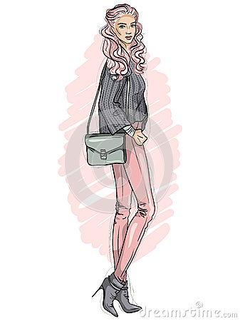 Free Vector Hipster Girl Dressed In Jeans, Sweater, Ankle Boots With Bag Over Her Shoulder, Color Sketch Stock Image - 89744611