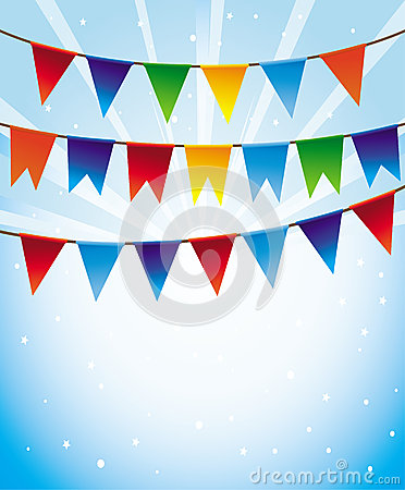 Vector holiday background with bright flags