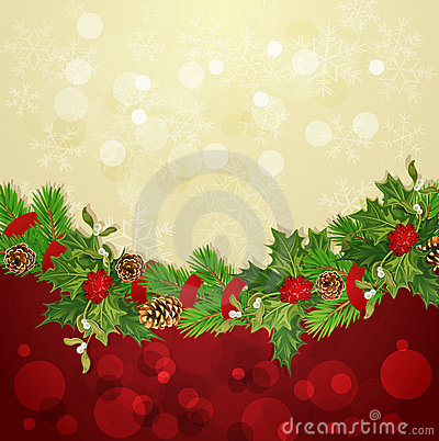 Vector holiday background with Christmas garland