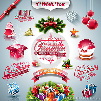 Free Vector Holiday Collection For A Christmas Theme With 3d Elements On Clear Background. Royalty Free Stock Photography - 46758787