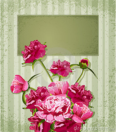 Vector holiday greetings with Peonies