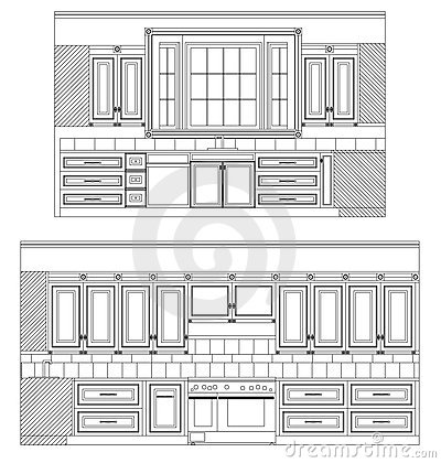 Free Vector Home Kitchen Drawing Royalty Free Stock Images - 5955019