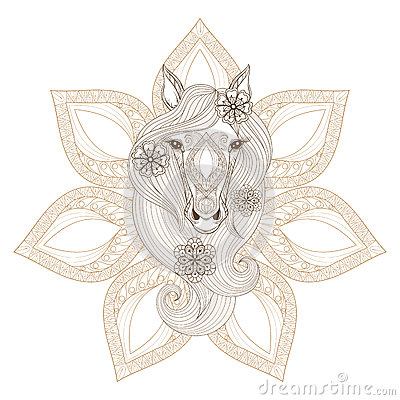 Vector horse coloring page with horse face on mandala
