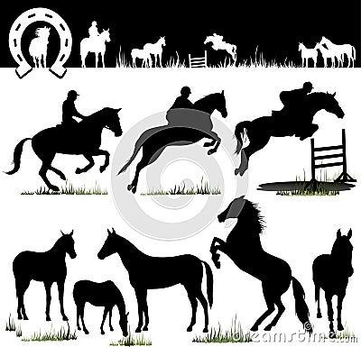 Free Vector Horse Silhouettes Stock Photos - 1727873